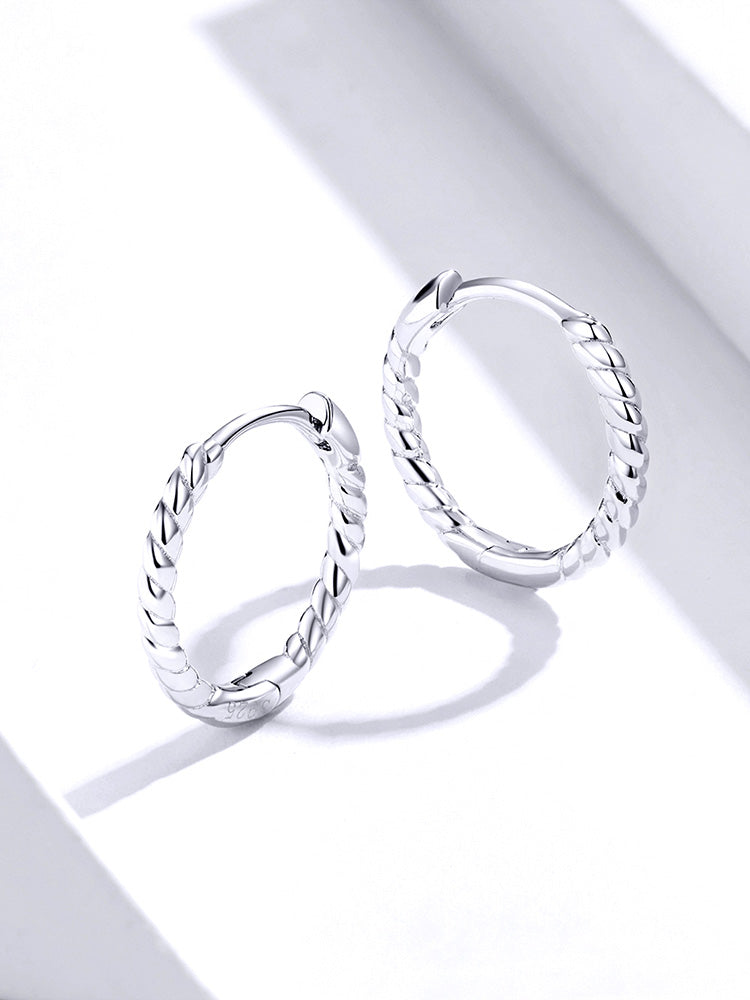 rope design circle silver earrings
