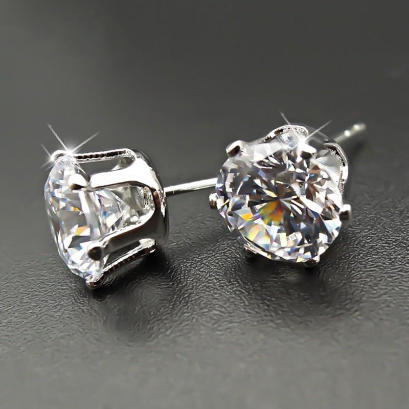 Stud Earrings Round Classic 925 Sterling Silver