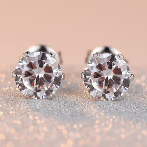 Classic Round Stud Earrings 925 Sterling Silver