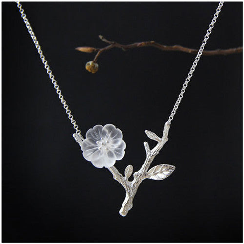 Crystal Flower Handmade Necklace Sterling Silver
