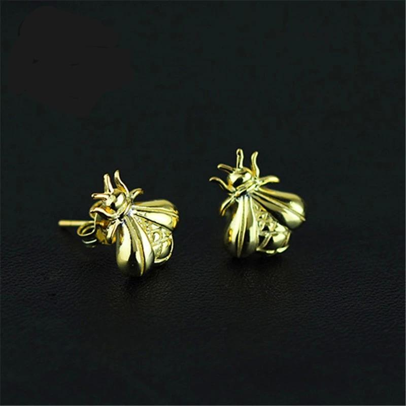 Honey Bee Gold Stud Earrings Handmade 925 Sterling Silver