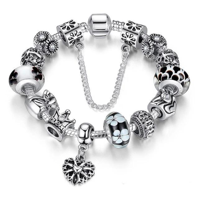 Queen Crown Black Silver Bracelet