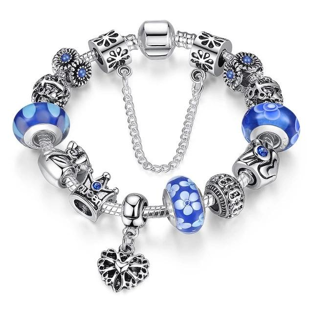Queen Crown Blue Silver Bracelet