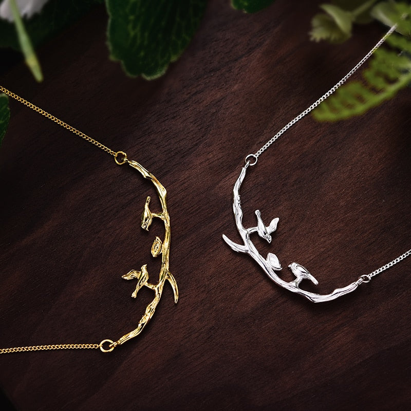 Bird on Branch Sterling Silver Gold Necklace