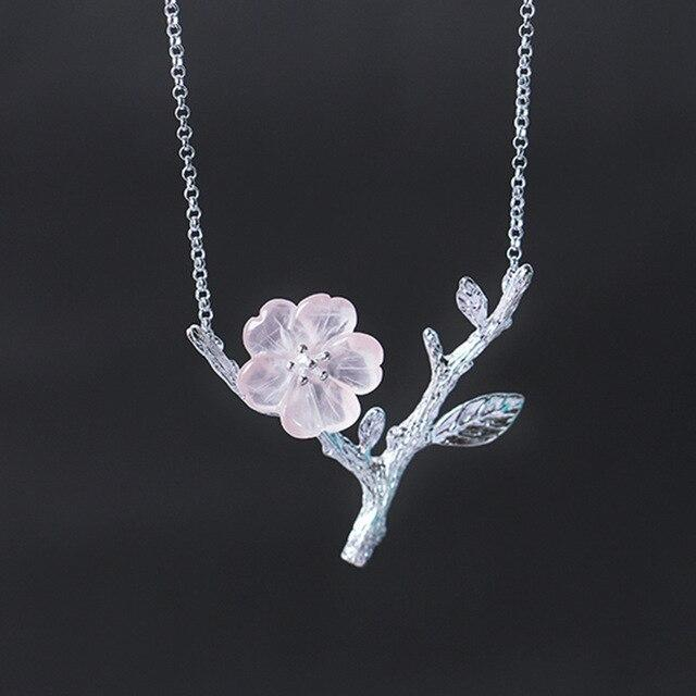 Pink Crystal Flower Handmade Necklace