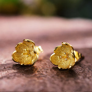 Gold Flower Silver Earrings