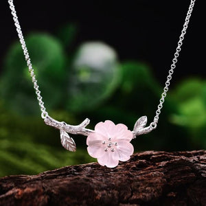 Crystal Flower Pink Silver Necklace Pendant Handmade