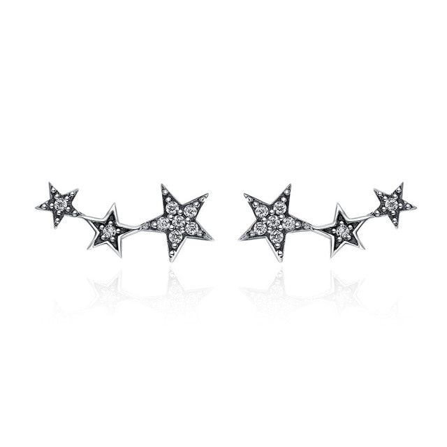 Stars Row Sterling Silver Earrings