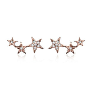 Stars Row Rose Gold Earrings 925 Sterling Silver