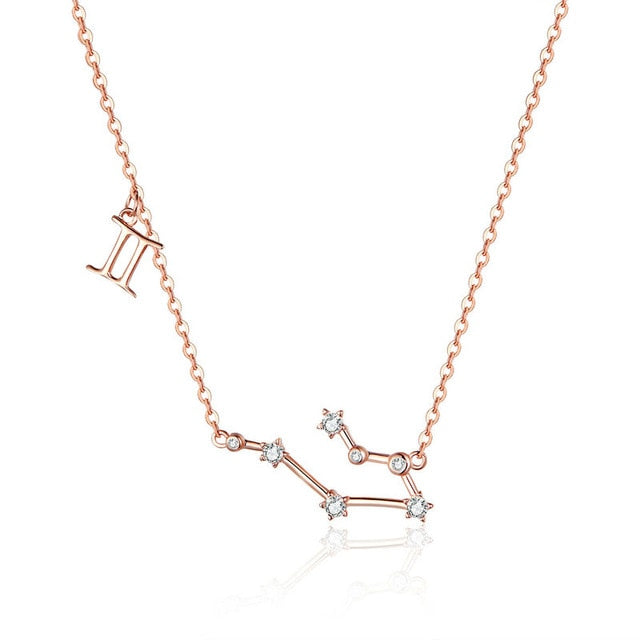 Gemini Zodiac Constellation Necklace Sterling Silver