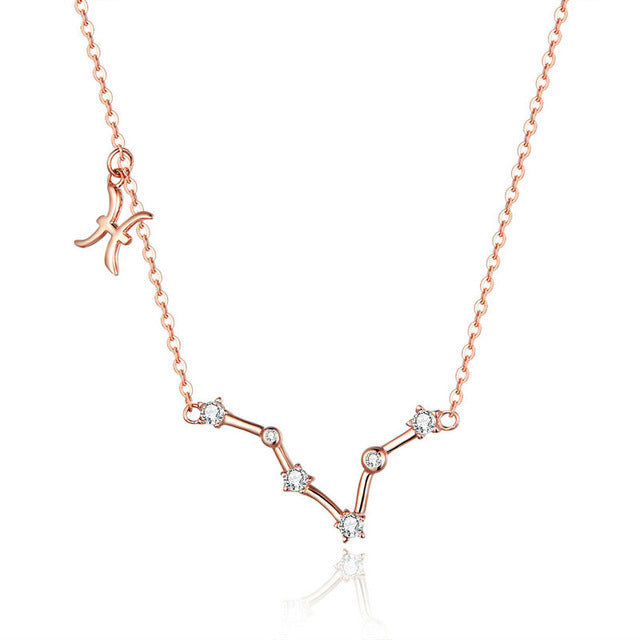 Pisces Zodiac Constellation Necklace Sterling Silver
