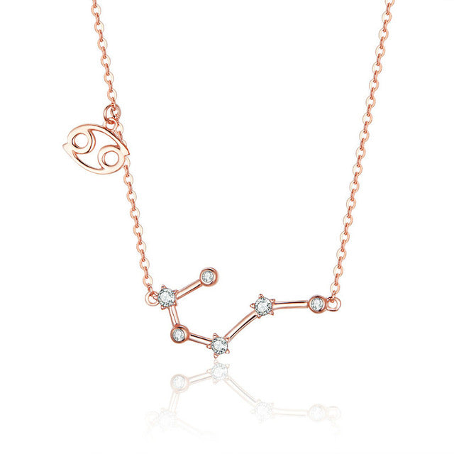 Cancer Zodiac Constellation Necklace Sterling Silver