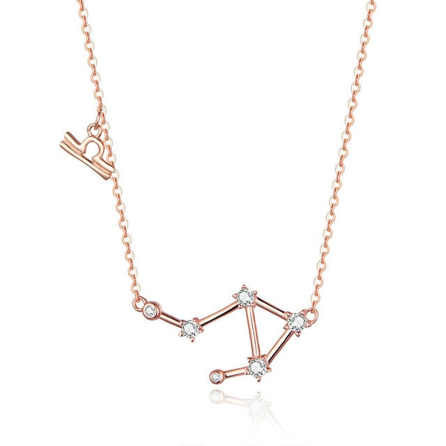 Libra Zodiac Constellation Necklace Sterling Silver