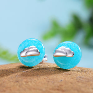Clouds in Blue Sky Sterling Silver Earrings