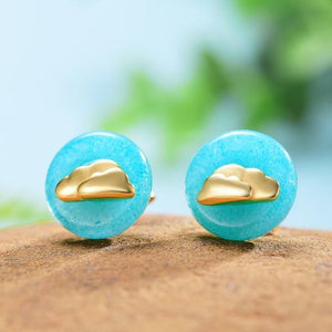 Clouds in Blue Sky Gold Amazonite Earrings