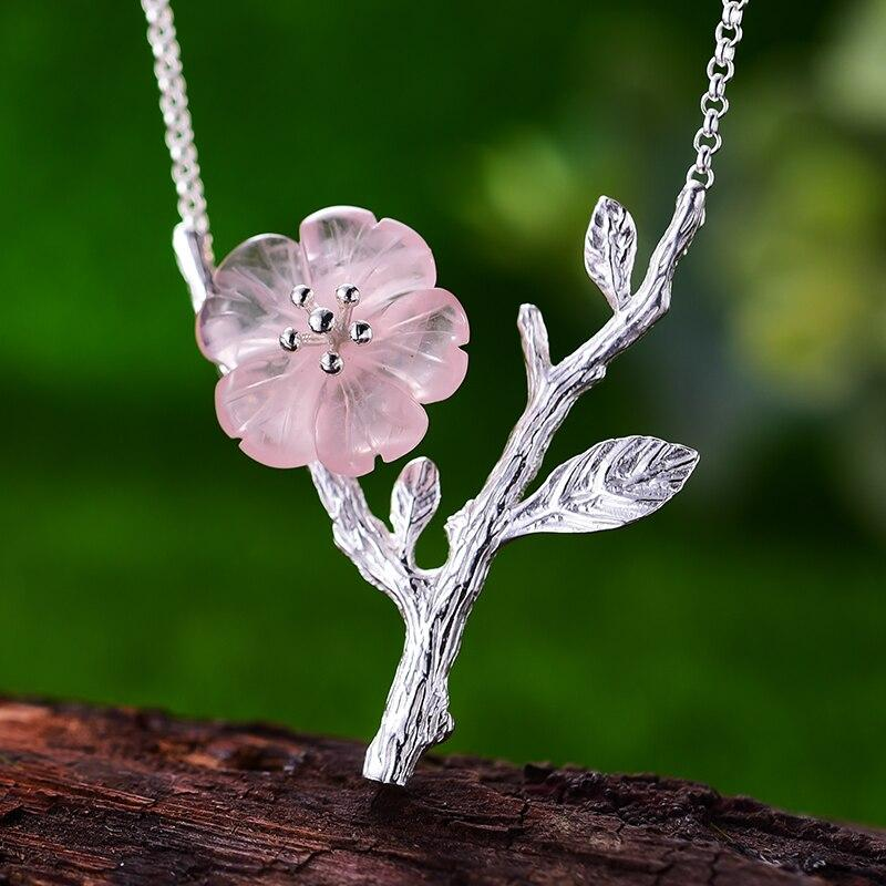 Handmade Pink Flower Necklace Sterling Silver