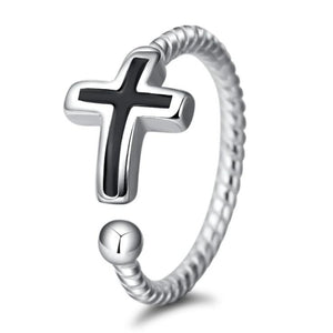 Black Cross Silver Ring