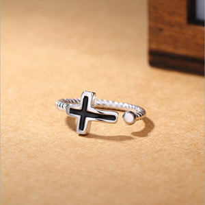 Black Cross 925 Sterling Silver Ring