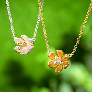 Inner Flower Sterling Silver Gold Pendant Necklace