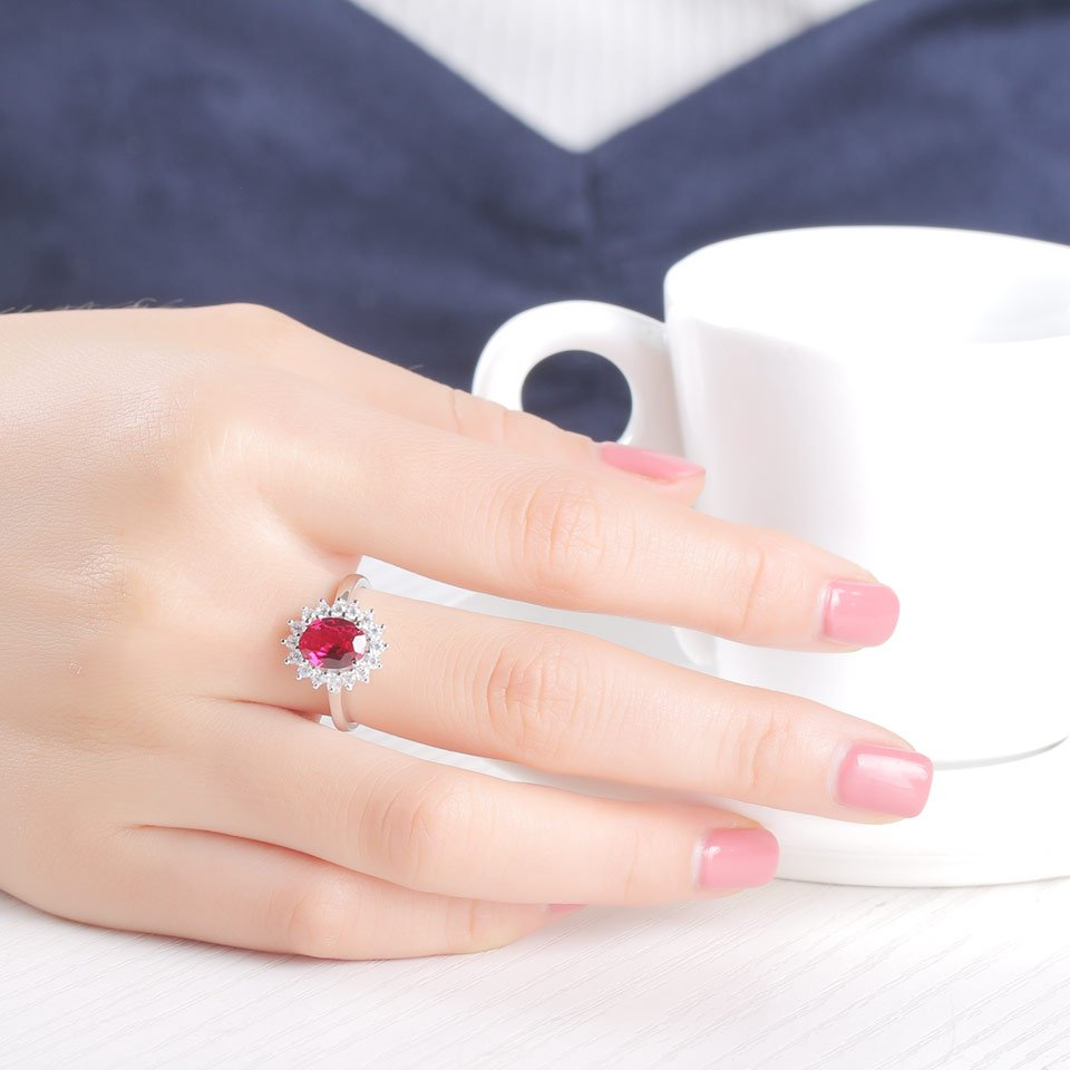 Oval Ruby Silver Ring