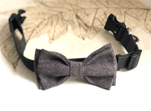 Load image into Gallery viewer, Luxury Tweed Look Anthracite Grey Linen Bow Tie