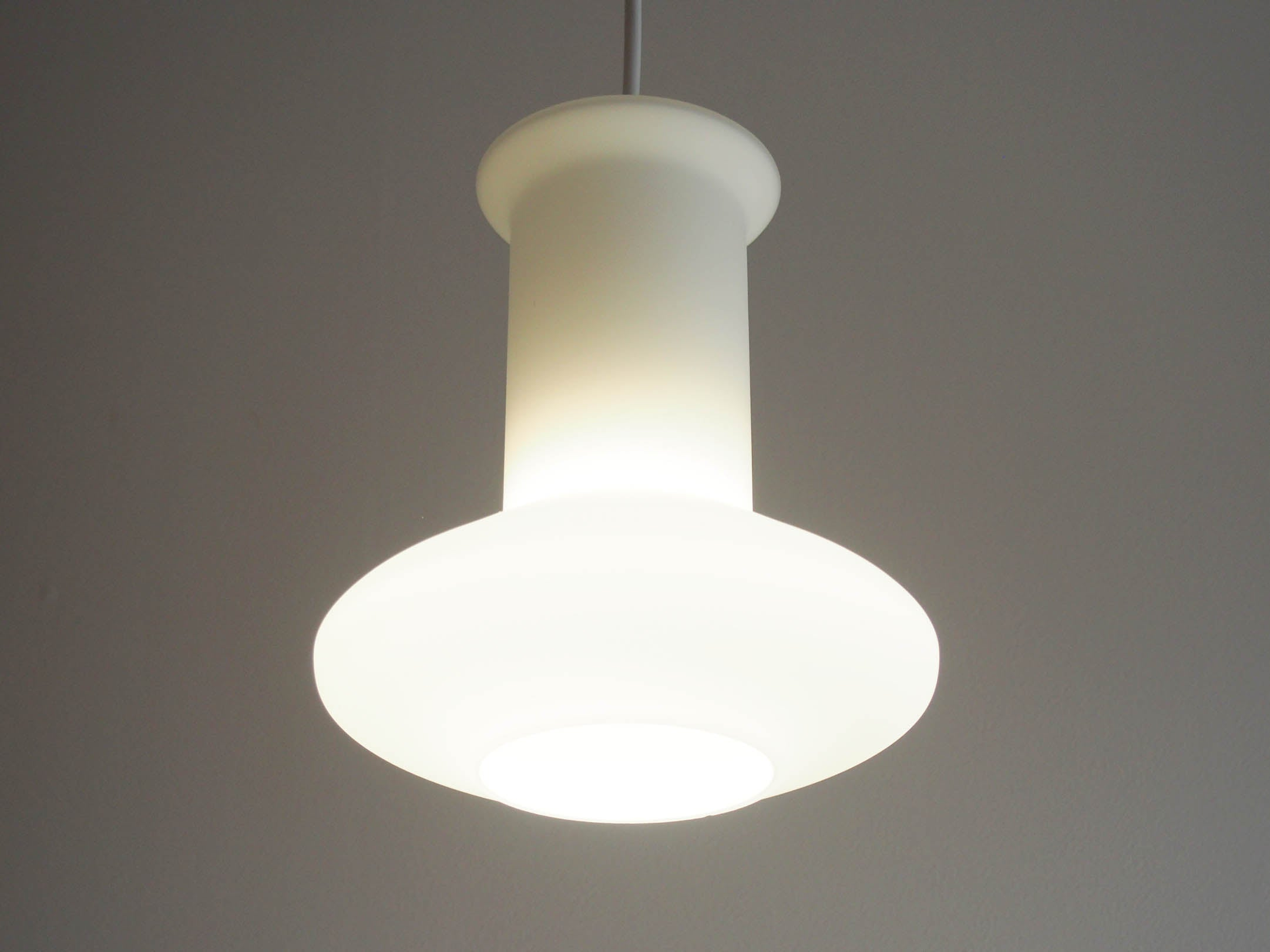 Vintage - Denmark - White glass pendant lamp