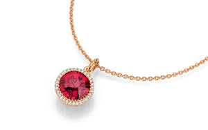 Laden Sie das Bild in den Galerie-Viewer, Diamantkette 750 Roségold Diamanten 0,09 Karat und Rhodolith