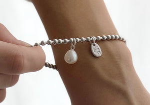 Spheric-Pearl Silberarmband 4 mm