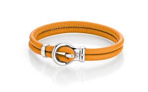 Lade das Bild in den Galerie-Viewer, YDF exklusives Lederarmband Farbe orange Silber Diamant