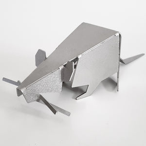 geometric metal rat figurine