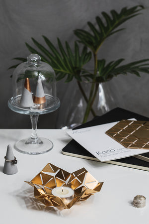 ORIGAMI INSPIRED BRASS SABBATH TEA LIGHT HOLDER