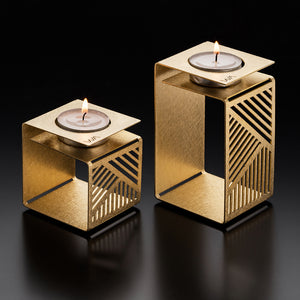 candle holders, tealight, set of 2, gold, brass