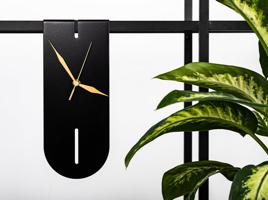 black floating modern clock