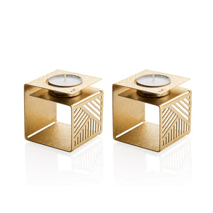 modern geometric gold color Sabbath candle holders