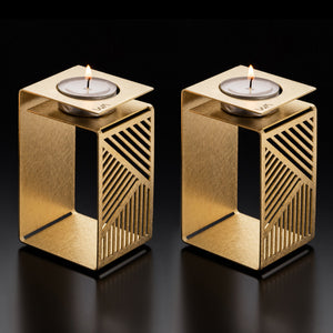 KARL - Brass Shabbat Candle holders