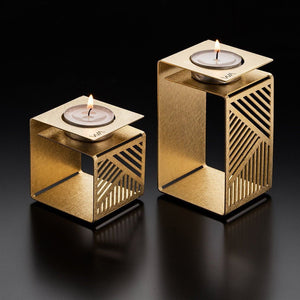 KLARA - Geometric Brass Candle Holder