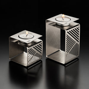 geometric candle holders - set of 2