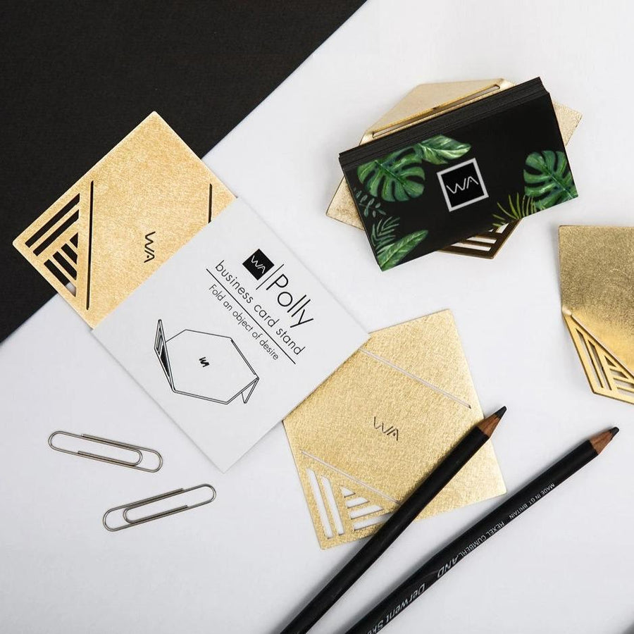 POLLY - Modern Brass Business Card Stand