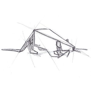 geometric rat - pen sketch