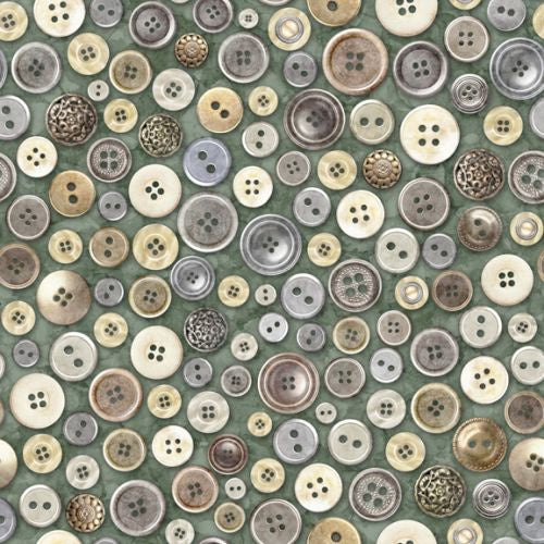 Quilting Treasures - Buttons Green