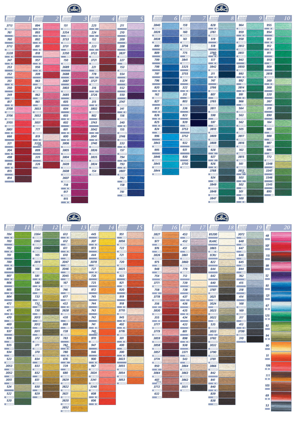 DMC Cotton Thread 1-4 rows of the colour chart
