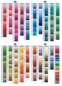 DMC Cotton Thread 13-16 rows on the colour chart