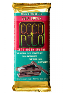 Coco Polo 39% Cocoa Milk Chocolate - Sugar Free Chocolate Bar