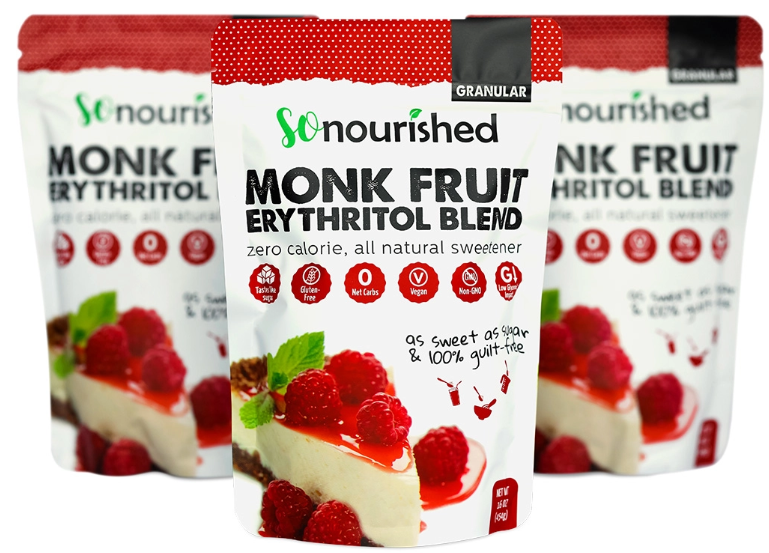 Monk Fruit & Erythritol Blend Sweetener - SoNourished Granular Monk Fruit + Erythritol Sweetener