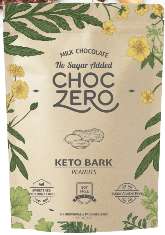 Choc Zero Milk Chocolate Peanut Keto Bark - Gluten Free, Sugar Free, Low Carb, Keto & Diabetic Friendly