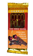 Load image into Gallery viewer, Coco Polo 39% Cocoa Milk Chocolate Bar with Cherries - Sugar Free Milk Chocolate Bar