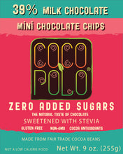 Load image into Gallery viewer, Coco Polo 39 % Milk Chocolate Baking Chips - 9 oz Bag - Sugar Free Milk Chocolate Chips