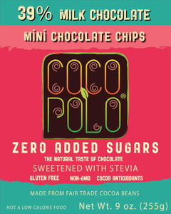 Coco Polo 39 % Milk Chocolate Baking Chips - 9 oz Bag - Sugar Free Milk Chocolate Chips