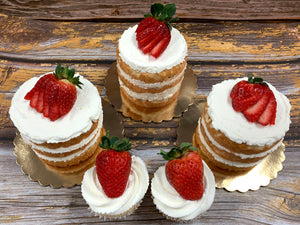 IN STORE ONLY - Keto Cupcakes - Strawberry ShortCake Cupcakes Decorated w/ Buttercream & Strawberries, Gluten Free, Sugar Free, Low Carb, Keto & Diabetic Friendly