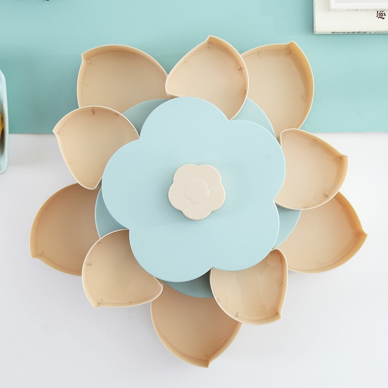 Petal-Shape Rotating Snack Box Candy Tray Food Storage